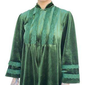 Vintage Green Velvet Nightie Antique Rare Dress